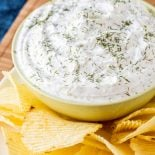 Dill Dip Recipe! This easy dill dip goes great with chips, veggies, or bread and can be thrown together in flash. Great for holidays, sports parties, or a movie night! | HomemadeHooplah.com