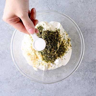 Dill Dip Step 1 - Add accent salt.