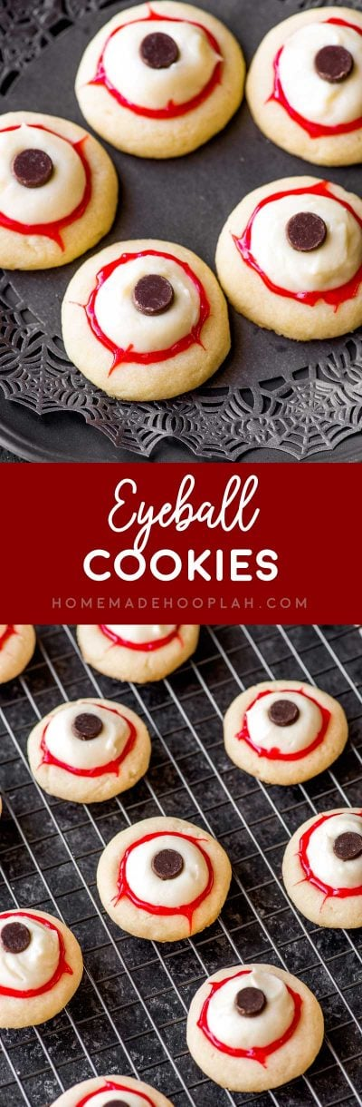 Eyeball Cookies! Classic buttery thumbprint cookies get a creepy Halloween makeover for these party-ready eyeball cookies. Easy decorating with frosting, chips, and red gel! | HomemadeHooplah.com