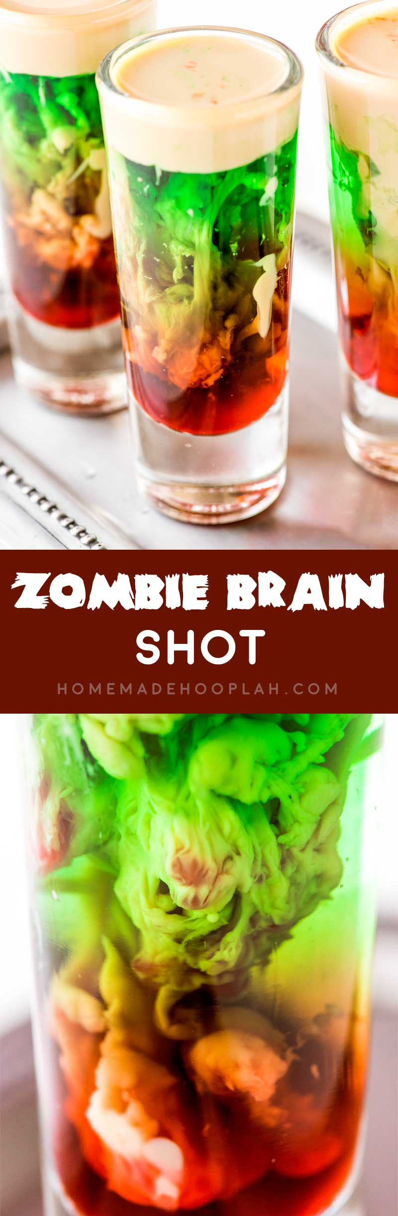 Zombie Brain Shot! This totally creepy and absolutely cool zombie brain shot is the ultimate Halloween drink. And it's as fun to make as it is to shoot - if you dare! | HomemadeHooplah.com