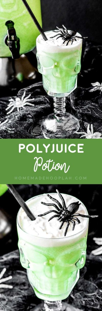 Polyjuice Potion! A family-friendly drink that's perfect for adults and kids, this polyjuice potion only has three ingredients: lime sorbet, lemon-lime soda, and ginger ale! | HomemadeHooplah.com