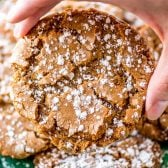 Snow Topped Gingersnaps! Classic gingersnap cookies that are deliciously chewy and dusted with powdered sugar for a festive holiday look. Easy to make and no chilling needed!   HomemadeHooplah.com