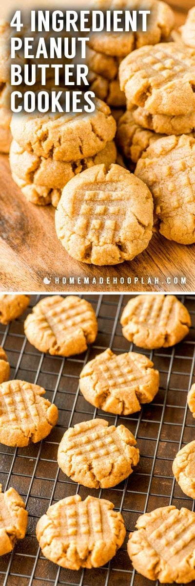 4 Ingredient Peanut Butter Cookies! These flourless peanut butter cookies only take one bowl and are a breeze to whip up. Their ultra-rich flavor makes them perfect for peanut butter lovers! | HomemadeHooplah.com
