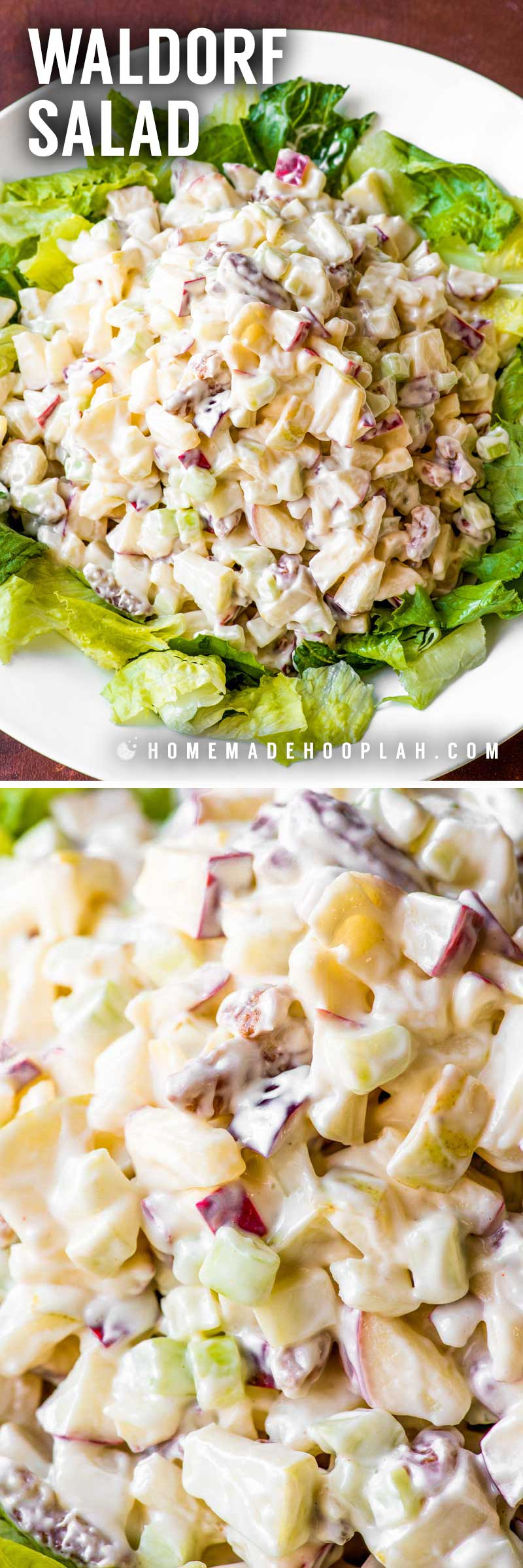 Waldorf Salad! This sweeter twist on the classic Waldorf salad is made with red apples, green pears, fresh celery, and crunch pecans which are all tossed in a dressing of Miracle Whip and fruit juices. Perfect for potlucks and parties! | HomemadeHooplah.com