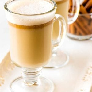 Hot Buttered Rum! A buttery mixture of sugar, ice cream, and spices, this hot buttered rum can be made in advance and served by the glass. Plus it's kid-friendly, too! | HomemadeHooplah..com