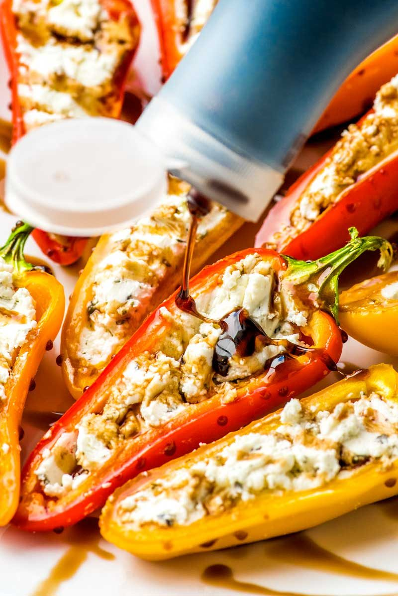 Baked stuffed peppers recipe with goat cheese.