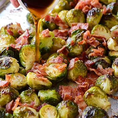 Maple Bacon Brussels Sprouts Step 5 - Add maple syrup.