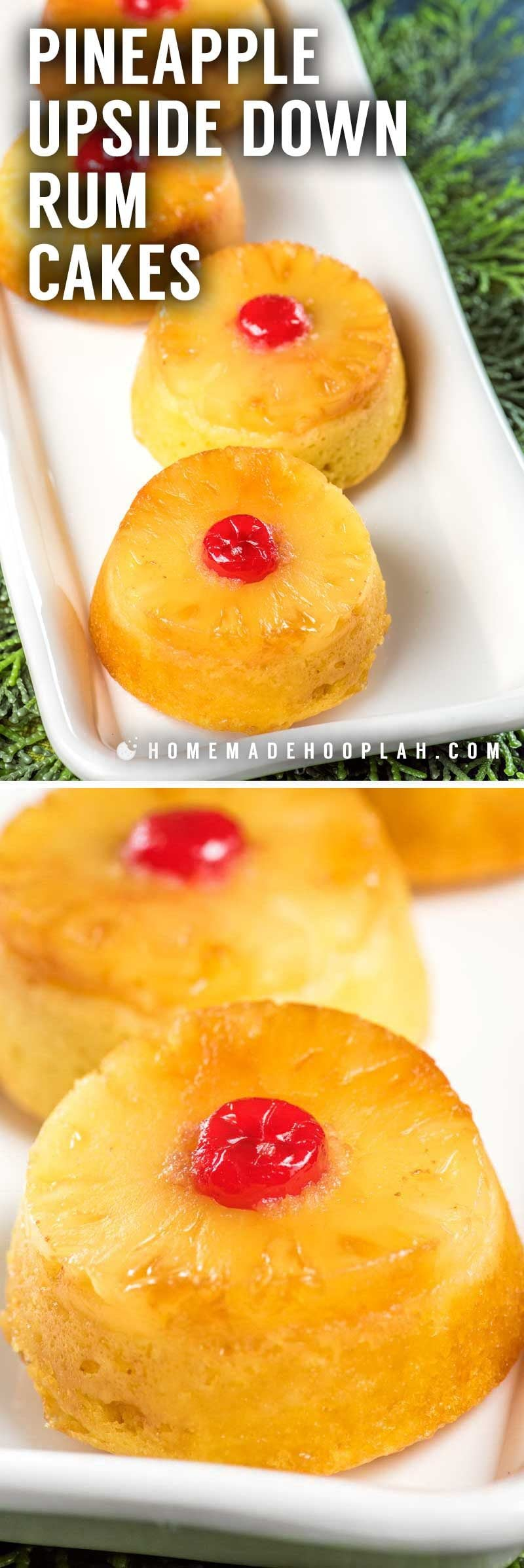 How to make individual pineapple upside down rum cakes.
