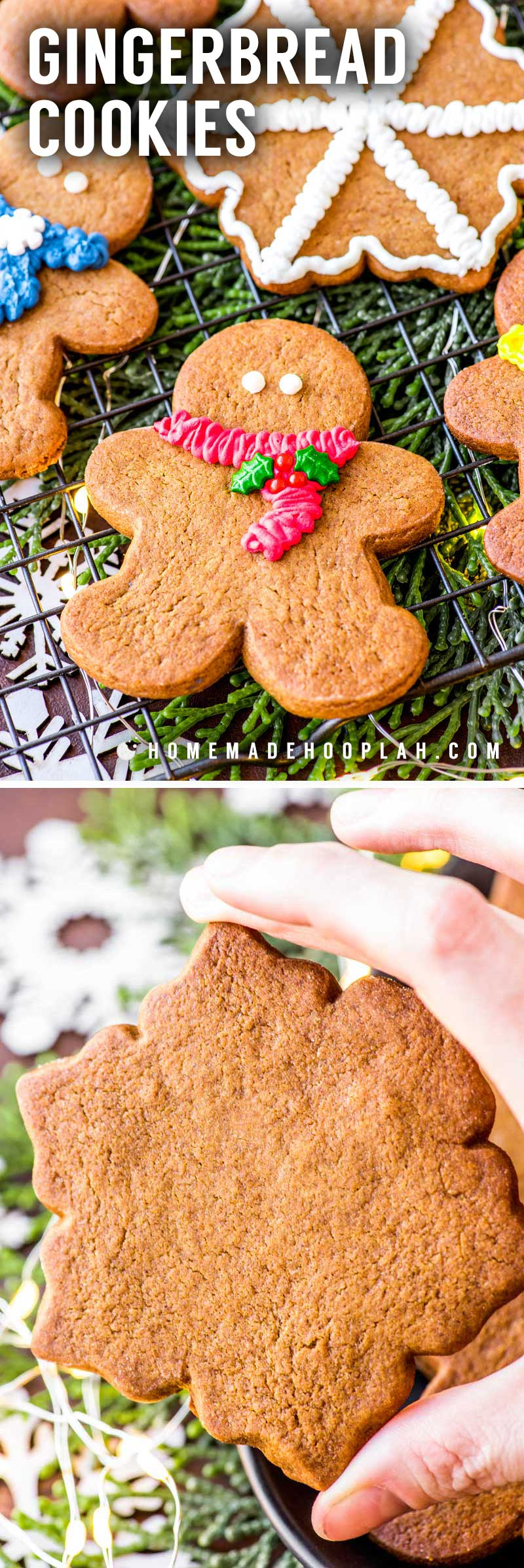 Gingerbread Cookies! Nothing says the holidays like gingerbread! Easy to make and quick to bake, these classic gingerbread cookies are a cookie exchange staple. | HomemadeHooplah.com