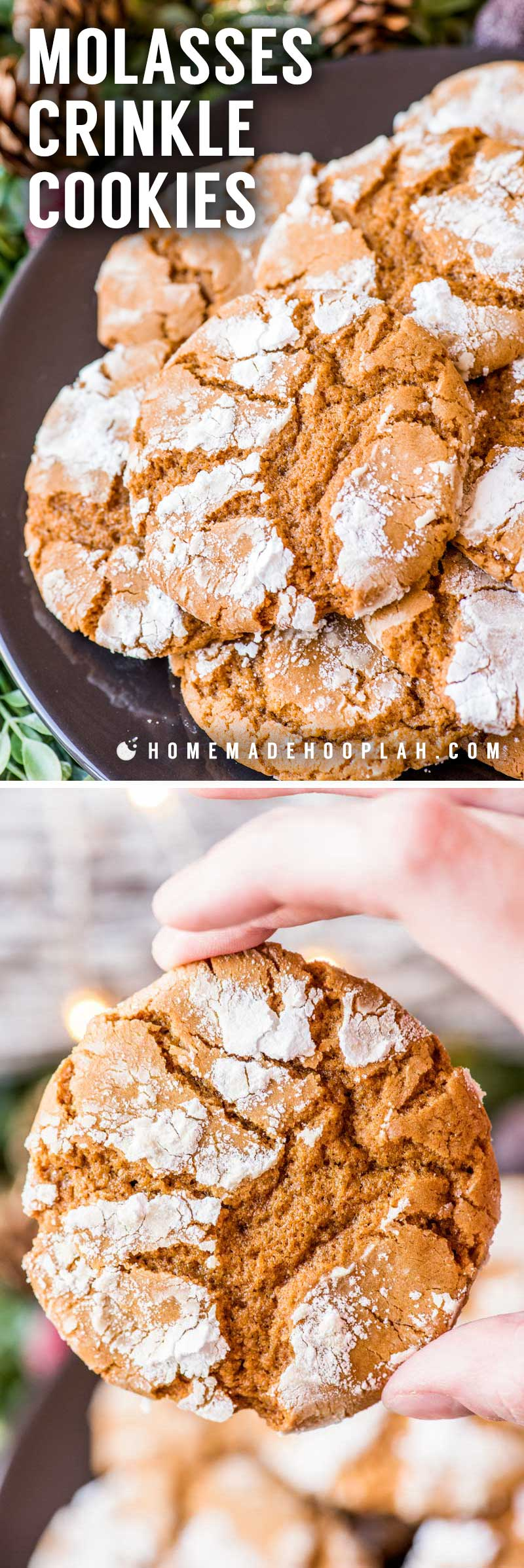Molasses Crinkle Cookies! These classic spiced crinkle cookies have a dash of white pepper which makes for a perfect balance to the trademark powdered sugar coating. | HomemadeHooplah.com