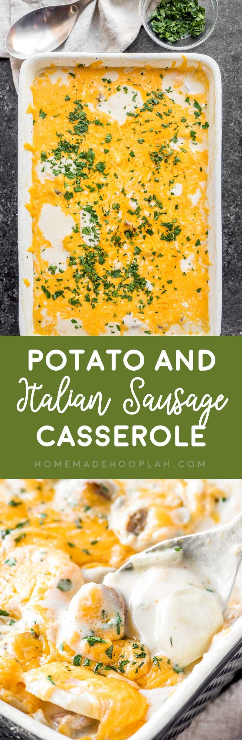 Potato and Italian Sausage Casserole! A creamy casserole made with potatoes, cheese, and savory Johnsonville Italian Sausage cooked with the Johnsonville Sizzling Sausage Grill. | #ad @jvillesausage HomemadeHooplah.com