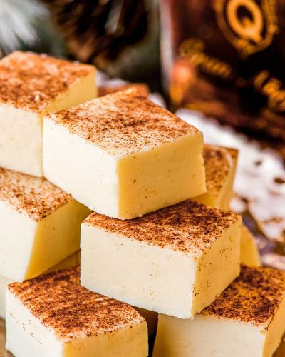 Buttered Rum Fudge! This white chocolate fudge is flavored with Don QGran Añejo, giving this rum fudge a taste of a classic hot buttered rum. Perfect for gifting!   #ad #Exceptional #DonQRum HomemadeHooplah.com