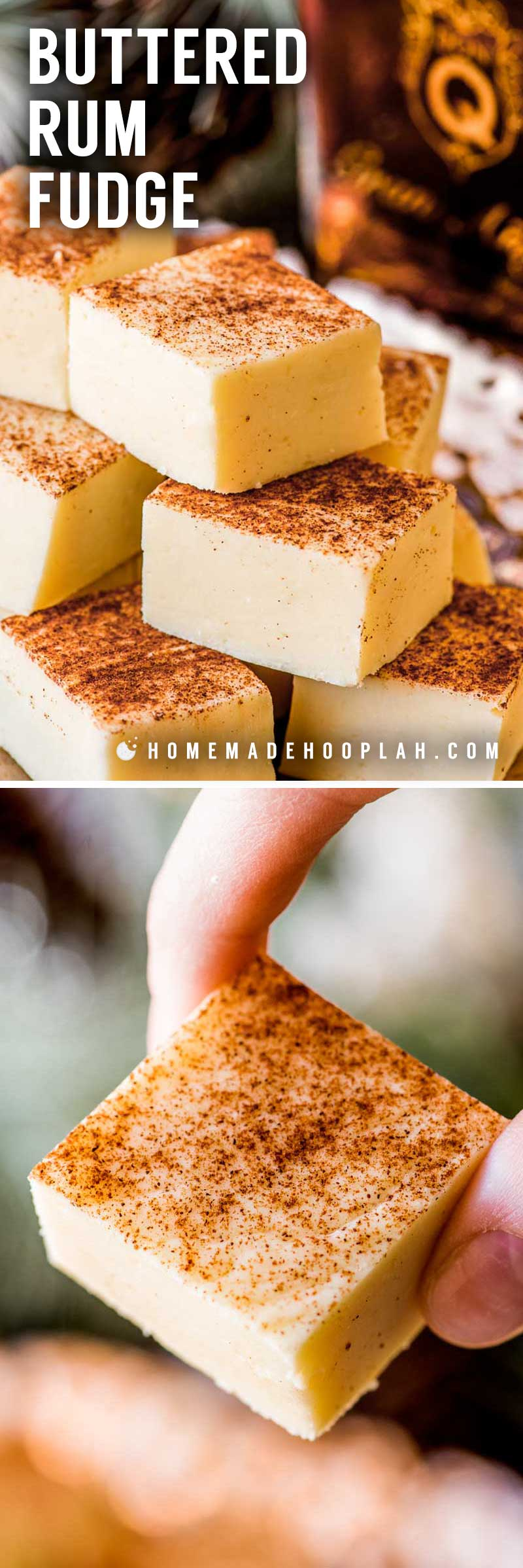 Buttered Rum Fudge! This white chocolate fudge is flavored with Don QGran Añejo, giving this rum fudge a taste of a classic hot buttered rum. Perfect for gifting! | HomemadeHooplah.com