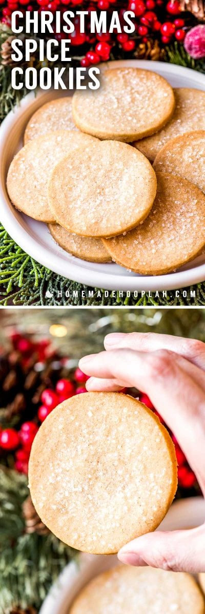 Christmas Spice Cookies! Classic vanilla cookies with a dash of the best holiday spices. Decorate with coarse sugar for a little extra crunch and touch of sweetness!   HomemadeHooplah.com