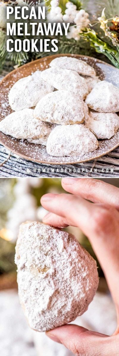 Pecan Meltaway Cookies! These ultra light and delicate meltaway cookies are flavored with chopped pecans and rolled in powdered sugar. They make great gifts or quick fix to satisfy your sweet tooth. You can bake them in a classic half-moon shape or roll them into balls - whichever you like best! | HomemadeHooplah.com