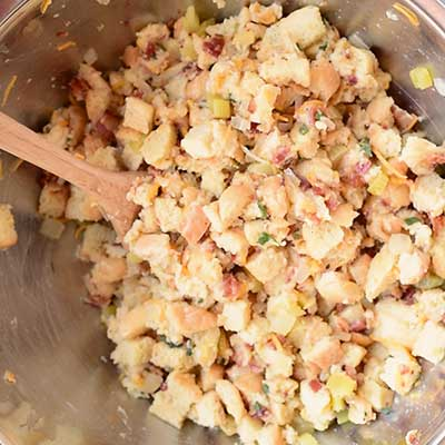 Cheesy Beer Bacon Stuffing Step 5 - Mix well.
