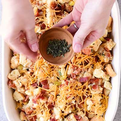 Cheesy Beer Bacon Stuffing Step 6 - Top with the remaining thyme.