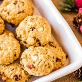 White Chocolate Cranberry Oatmeal Cookies! These cranberry oatmeal cookies are laced with white chocolate, require no chilling, and have the trademark chewy texture that makes oatmeal cookies legendary. | HomemadeHooplah.com