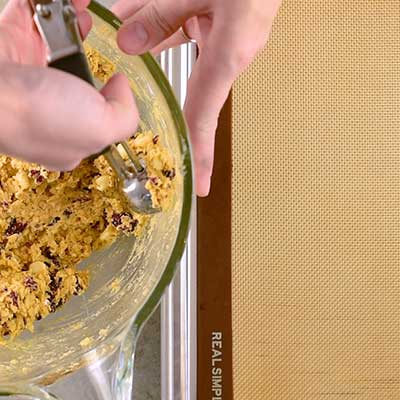White Chocolate Cranberry Oatmeal Cookies Step 5 - Scoop out cookie dough.