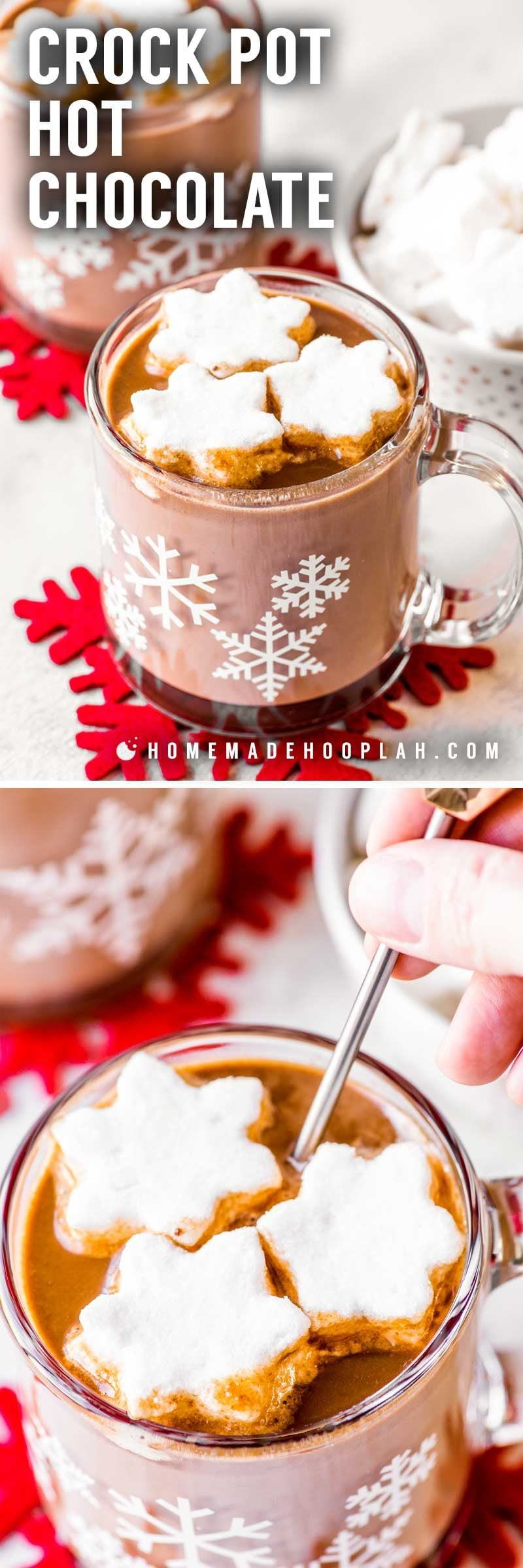 Crock Pot Hot Chocolate! Warm up this winter season with a creamy hot cup of chocolate made in a crock pot. This easy recipe is completely hands-off and perfect for limiting your time off the couch or out of bed. Garnish with mini marshmallows for the best sugar therapy! | HomemadeHooplah.com