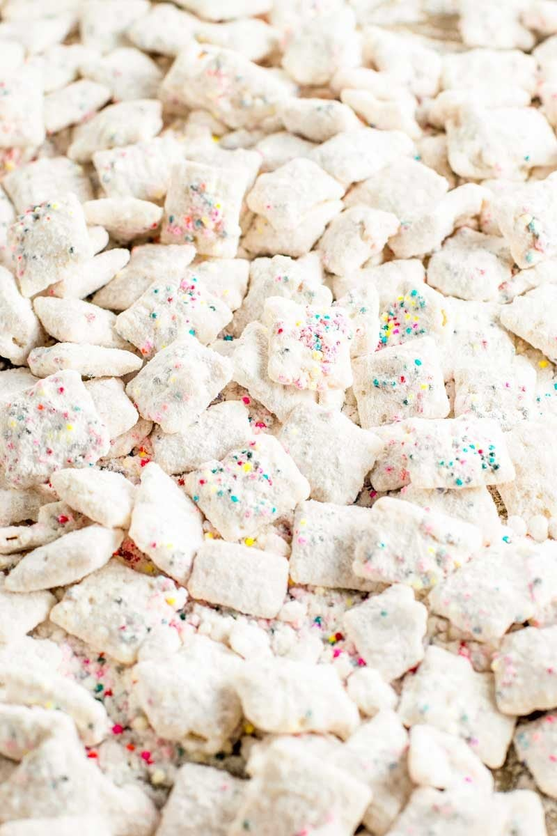 Funfetti cake batter puppy chow recpie