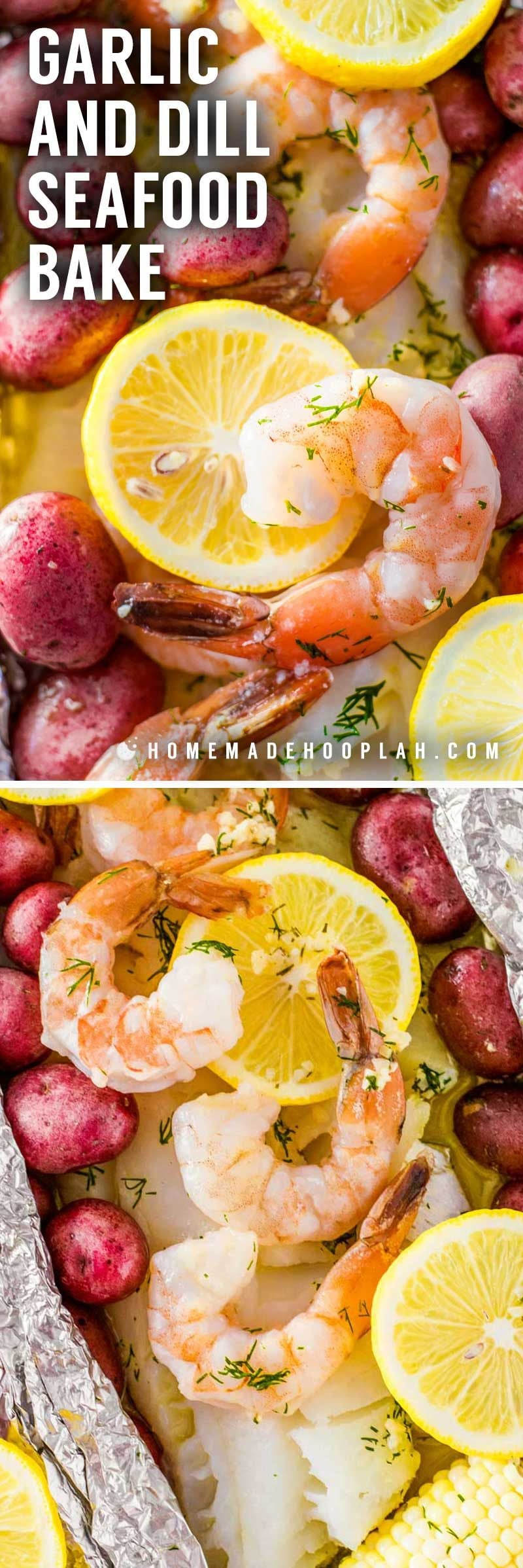 Garlic and Dill Seafood Bake! This restaurant-quality seafood bake is made by wrapping fish, shrimp, and seasonings in foil packets and then cooked in the oven. Perfect for a quick weeknight dinner or serving at a party. Customize it with your favorite veggies or fish! | HomemadeHooplah.com