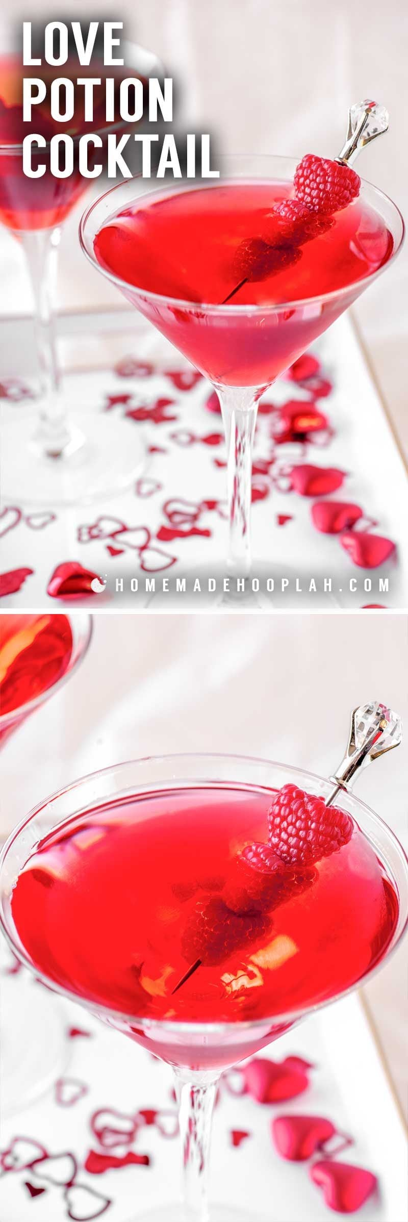 Recipe for a festive red cocktail for valentine's day