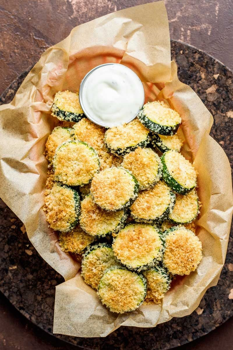 Sliced zucchini baked in breadcrumbs.