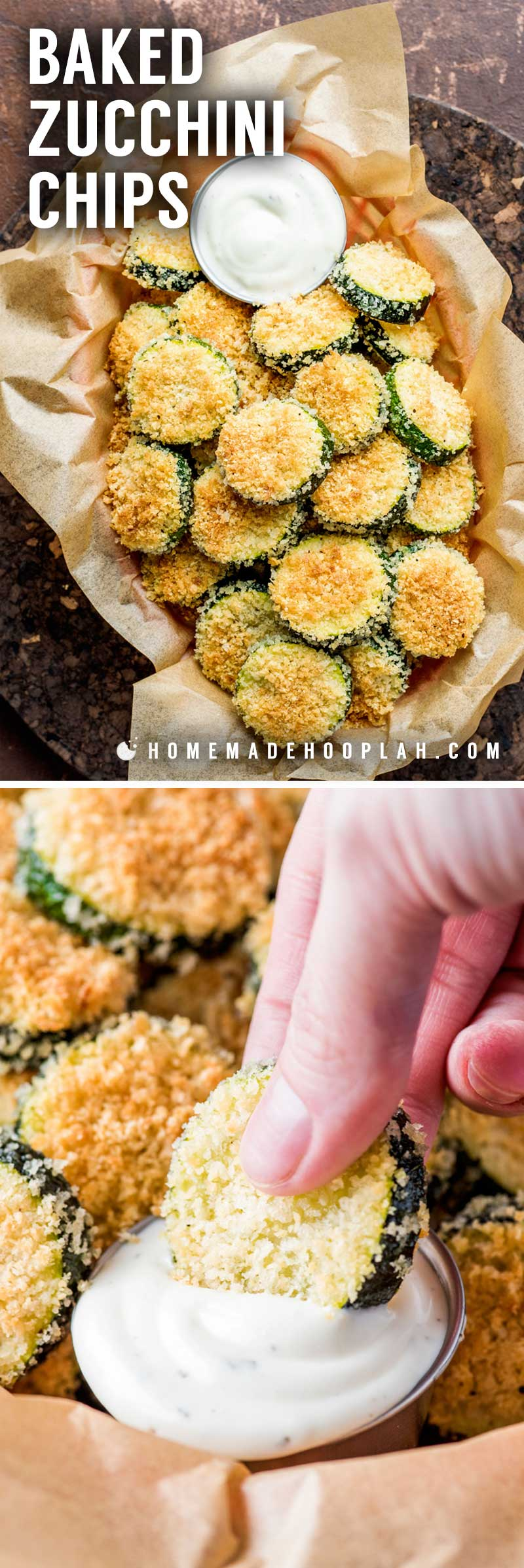 Baked Zucchini Chips! These tender baked zucchinis are coated in a simple parmesan panko breading and are perfect for a fun appetizer or easy snack. Plus, it's easy to customize this recipe with a few herbs or your favorite dip! | HomemadeHooplah.com