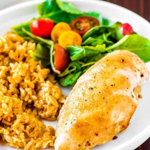 Brown Sugar Italian Chicken! Tender and juicy chicken breasts are baked in brown sugar and Italian seasonings to create a tasty glaze once cooked. It's a sweet-and-savory dinner takes only three ingredients and three steps to make and is perfect for a busy weeknight. | HomemadeHooplah.com