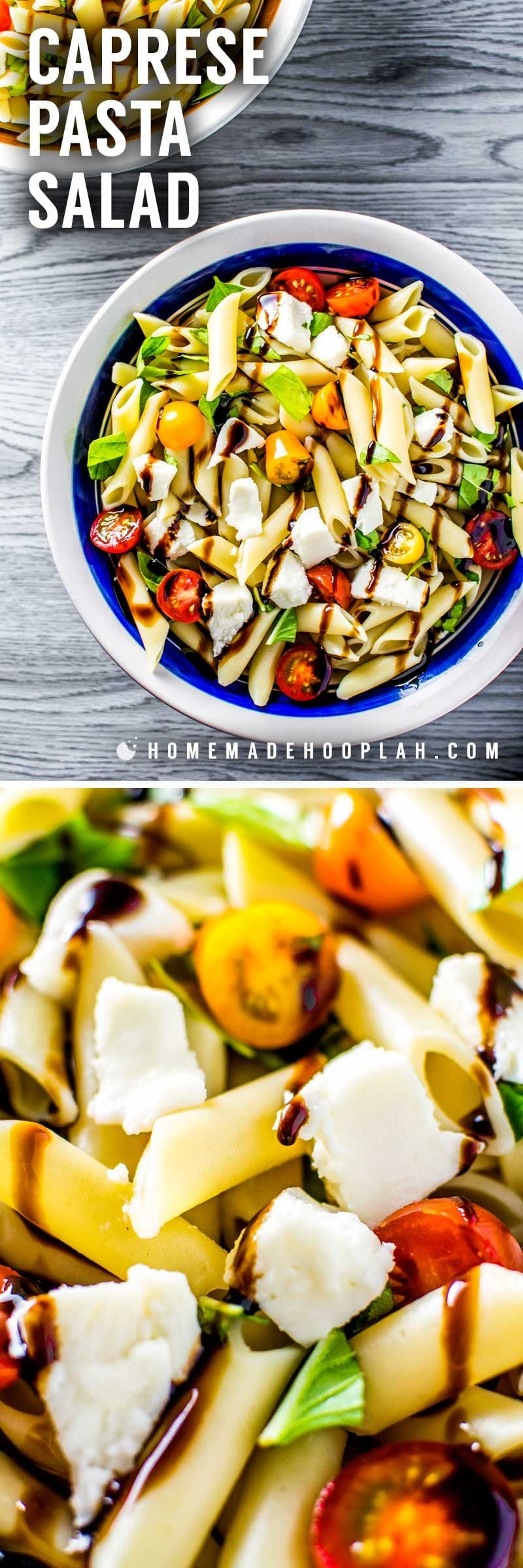 A caprese pasta salad that's about 586 calories per serving.