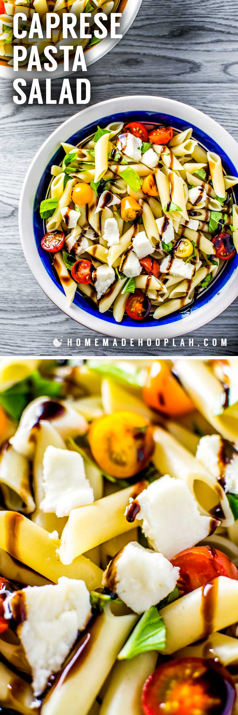 Caprese Pasta Salad! This caprese pasta salad is the ideal low-hassle side dish that still tastes gourmet. Homemade balsamic glaze (or store-bought!) is drizzled over sliced baby heirloom tomatoes, fresh chopped basil, bite-sized mozzarella, and a pasta of your choice. | HomemadeHooplah.com