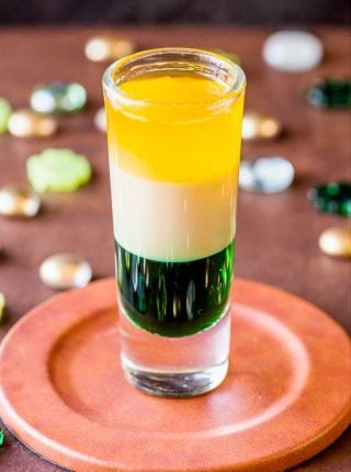 Irish Flag Shot! If you're looking for a green, white, and orange party drink for an Irish-themed celebration, this Irish flag shot is easy to make and fun to shoot. | HomemadeHooplah.com