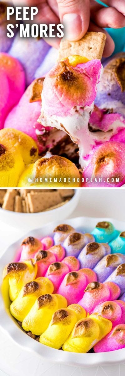 Peeps S'mores! These Peeps s'more are the ideal holiday treat for any s'mores fan! Your favorite chocolate (or candy!) is topped with sugary marshmallow Peeps and then baked in a shallow, oven-safe dish to sweet gooey perfection. Can use classic graham crackers or cookies for dipping. | HomemadeHooplah.com