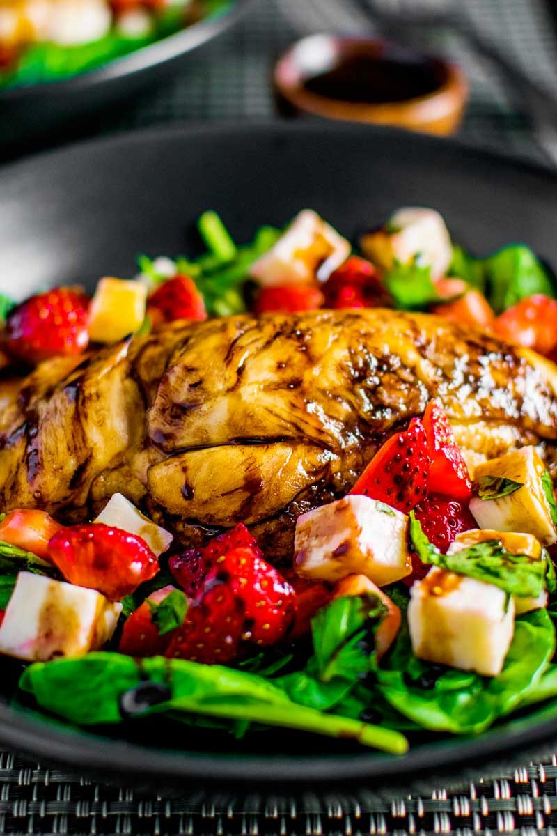 Balsamic chicken salad with strawberry caprese.