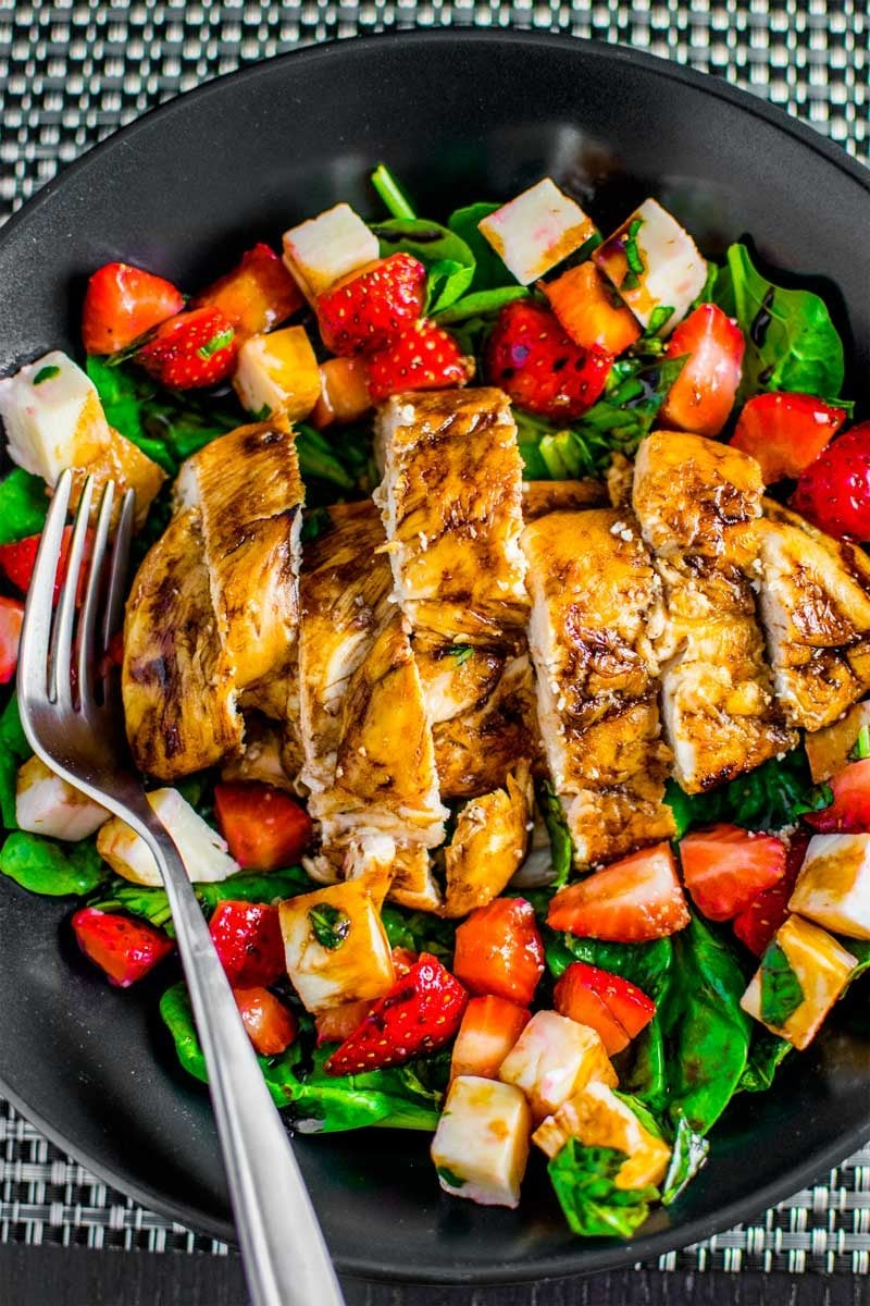 Easy strawberry caprese with balsamic chicken.