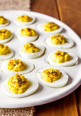 The Best Deviled Eggs! Easy and delicious, this is my family's recipe for the best deviled eggs. We like to flavor them with dried onion and celery seed, but there are notes in the recipe on how to remove (or add!) other ingredients to create the perfect classic deviled eggs. | HomemadeHooplah.com