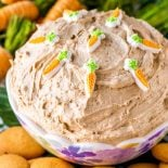 Carrot Cake Dip! Rich carrot cake and creamy batter dip collide with this simple party dip that's perfect for spring and tasty all year round. Served with cookies for dipping. | HomemadeHooplah.com