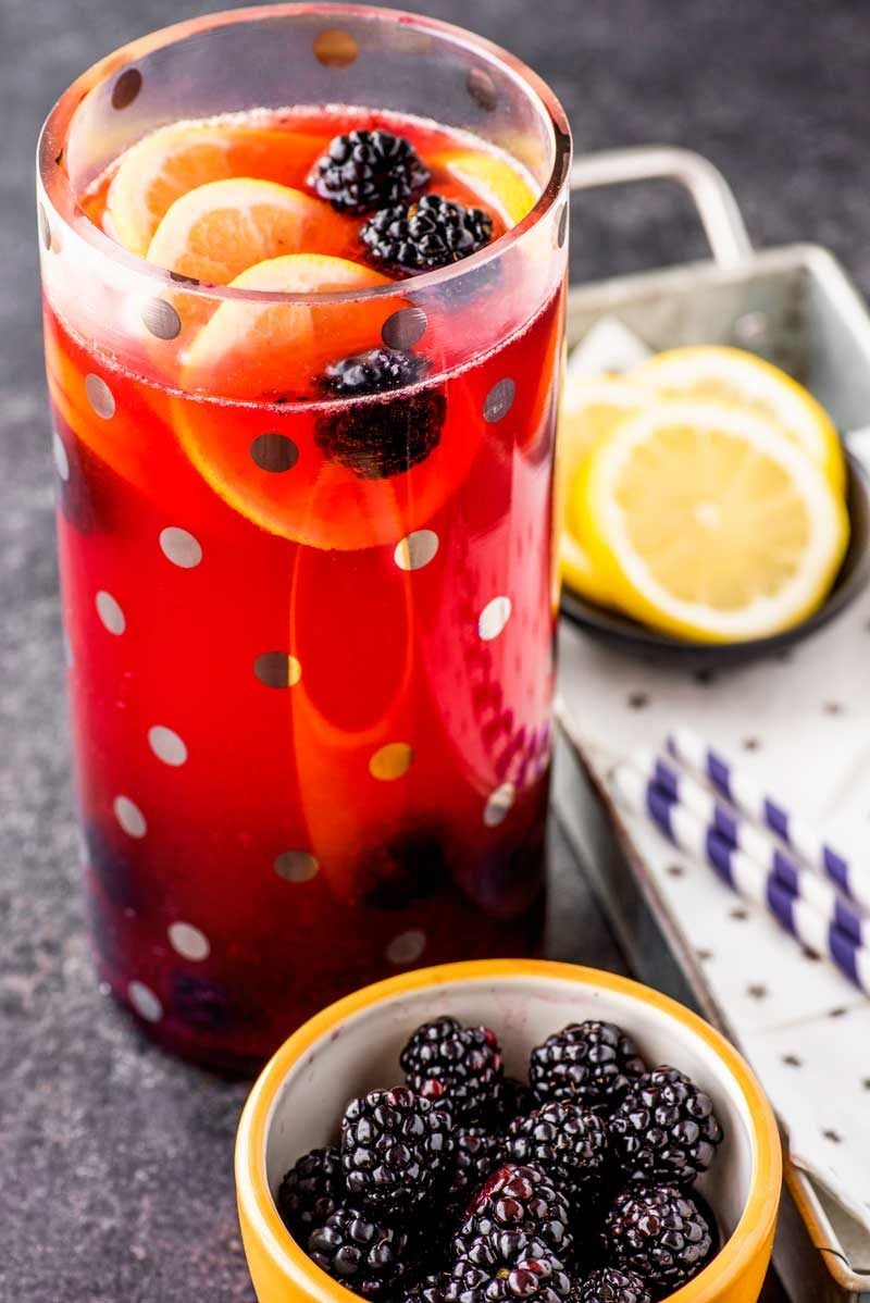 Lemonade with bourbon and blackberry syrup.