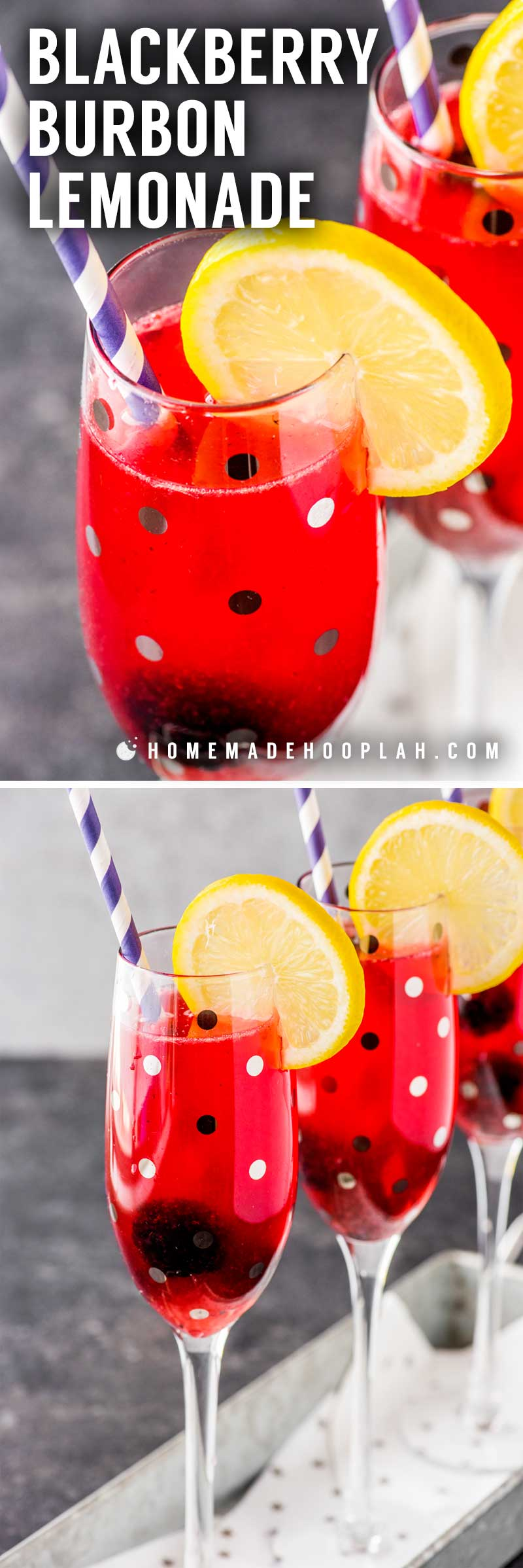 Blackberry Bourbon Lemonade! This blackberry bourbon lemonade takes the taste of lemonade and spikes it with a bite of bourbon and a sweet homemade blackberry syrup. It's perfect for cooling down on hot summer evenings or just a refreshing change from classic lemonade. | HomemadeHooplah.com