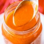 Buffalo Wing Sauce! With all the zesty bite of hot sauce and a smooth buttery edge, this buffalo wing sauce is easy to make and great to have on hand to make all of the endlessly tasty buffalo chicken dishes for weeknight dinners or weekend barbecues. | HomemadeHooplah.com