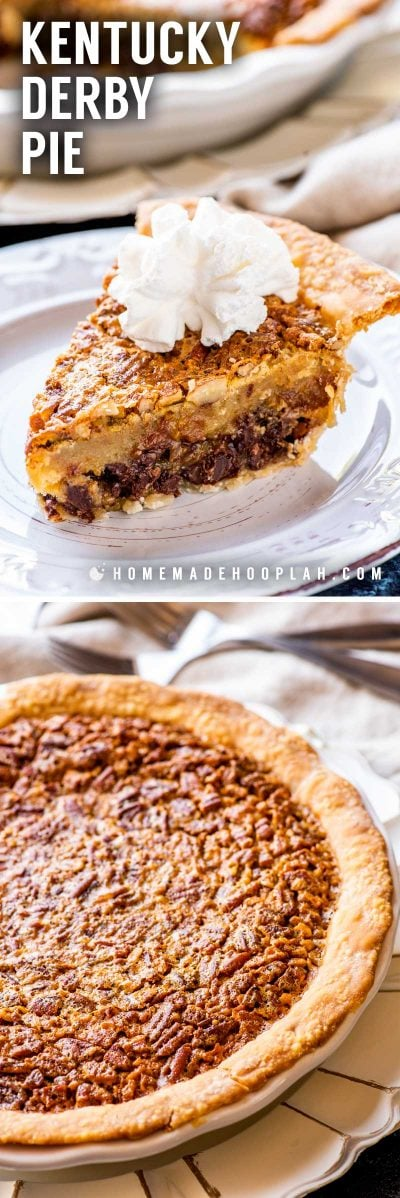 Kentucky Bourbon Pie! A total southern tradition, this Kentucky bourbon pie is a creamy mix of chocolate chips and pecans. Whether you're watching the Derby or just need a crunchy chocolate fix, it's a must-make whenever the weather warms up! | HomemadeHooplah.com