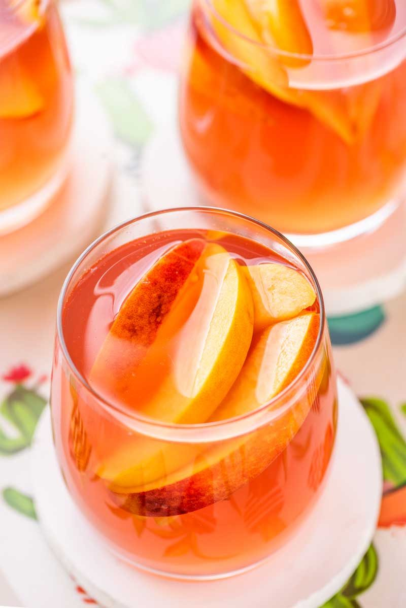A simple recipe for what is in a peach sangria.