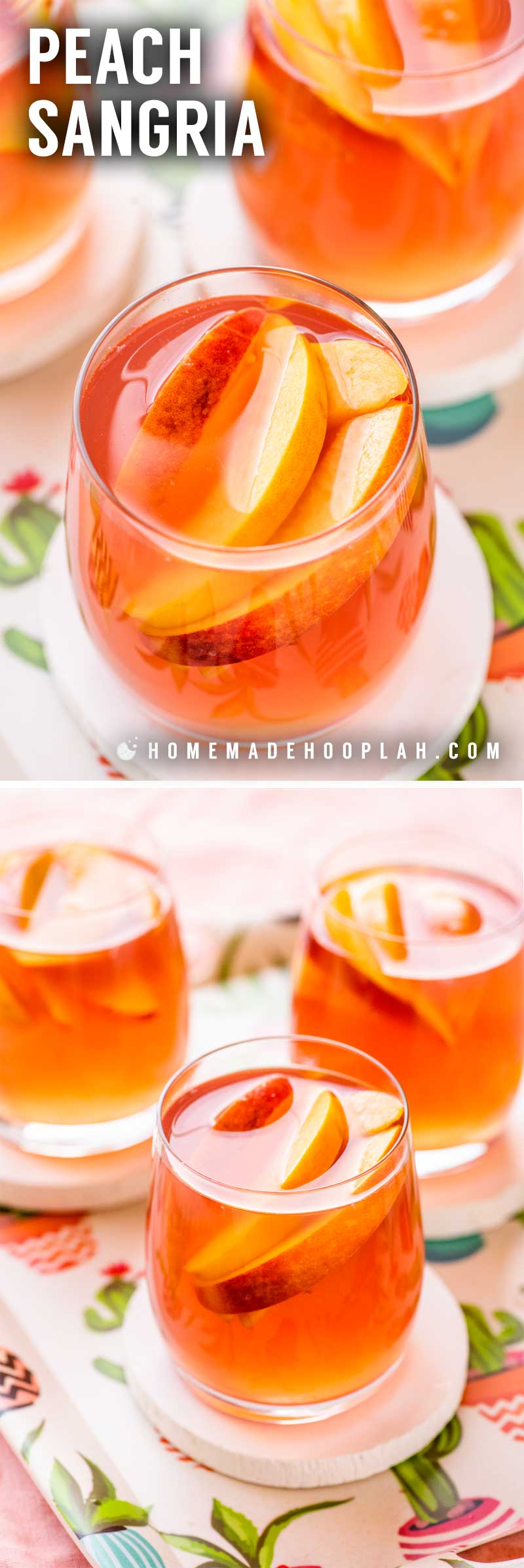 Peach Sangria! Celebrate the taste of late summer with this classic and crisp peach sangria. Perfect for entertaining, this recipe only uses five easy-to-find ingredients and can be made with fresh or frozen peaches. | HomemadeHooplah.com