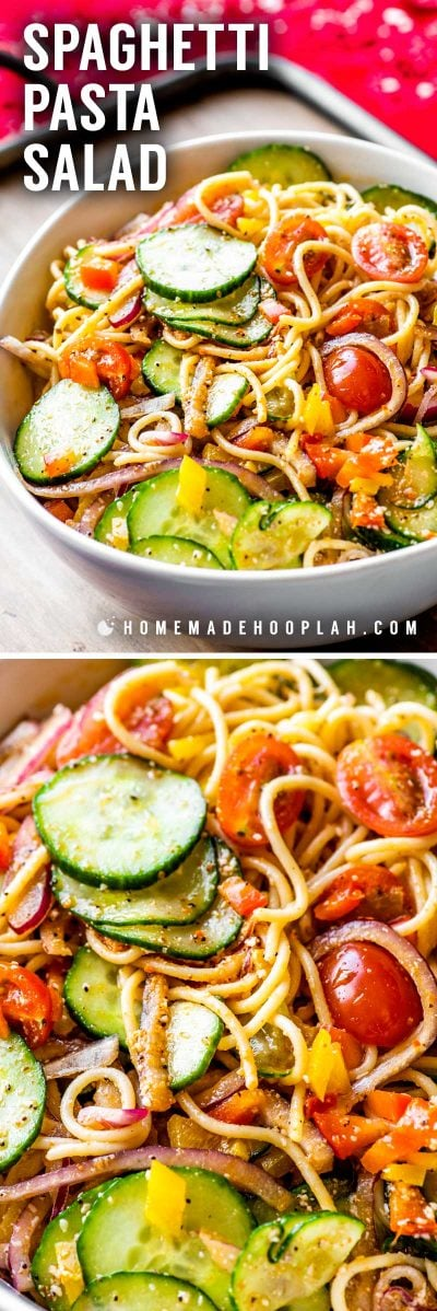Spaghetti Pasta Salad! This cold spaghetti pasta salad is a cookout classic that packs enough flavor to be a main dish or side dish. With tender pasta, fresh veggies, and flavored with a combination of parmesan cheese, salad supreme seasoning, and Italian salad dressing, it's guaranteed to be a crowd-favorite. | HomemadeHooplah.com