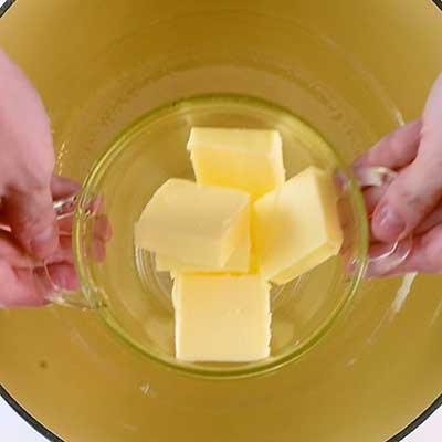 Triple Chocolate Fudge Step 1 - Add butter.