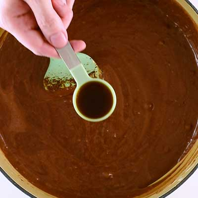 Triple Chocolate Fudge Step 5 - Add vanilla extract.