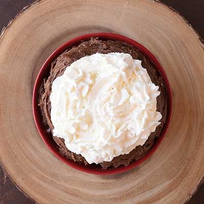 Black Forest Cake Dip Step 5 - Decorate with whipped cream.