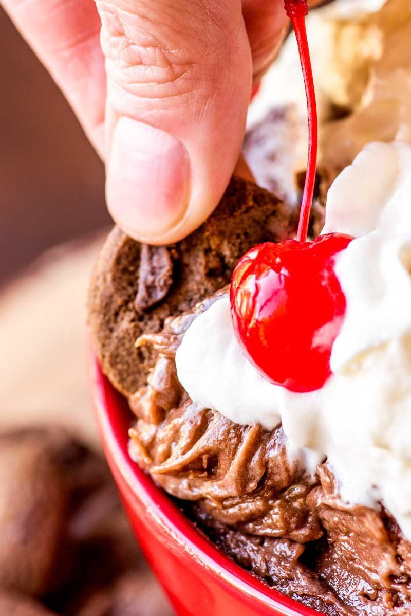 How to make chocolate cake batter dip.