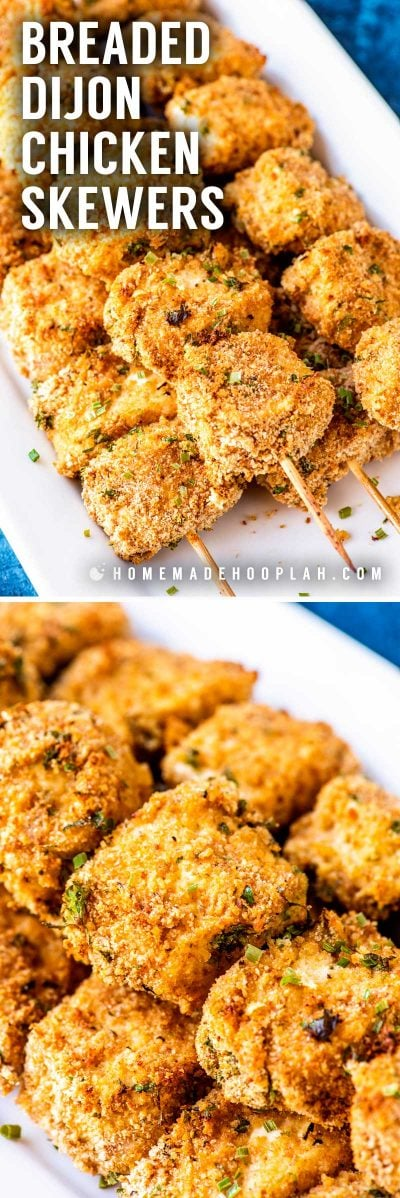 Breaded Dijon Chicken Skewers! These tender and tasty Dijon chicken skewers are family-friendly and perfect for a big party or a quick weeknight dinner. With no need to marinade and being baked in the oven, these skewers come together in less than 30 minutes. | HomemadeHooplah.com